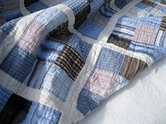 This quilt by Dan Rouse uses recycled shirts. I will be heading to our local thrift store today to see what I can find. Any tips about using recycled fabric?