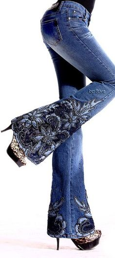 Magic Garden Embroidered Flare Jeans♥✤ ~ So pretty! * I would like to jazz up some of my jeans like this!