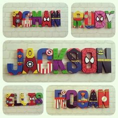 Superhero Letters, Superhero Room, Superhero Birthday Party, Boy First Birthday, Painting Wooden Letters, Painted Letters, Avengers Bedroom, Nursery Letters, Baby Boy Rooms