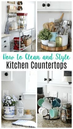How to style and clean kitchen countertops in any home. Whether your kitchen is big or small, here are 5 stylish and functional countertop displays and tips for cleaning all countertop surfaces! Source by jessicawellinginteriors Kitchen Countertop Organization, Kitchen Countertops, Kitchen Cabinets, Kitchen Remodeling, Remodeling Ideas, Decorating Kitchen Counters, Small Kitchen Decorating Ideas, Gray Countertops, Kitchen Organisation