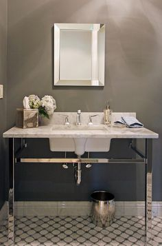 transitional powder room by home by jody
