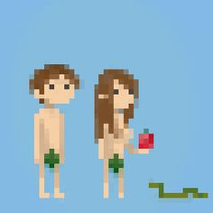 Adam and Eve Pixel art Pixel Characters, 8 Bit Art, Anime Pixel Art, Pixel Art Games, Game Design, Game Art, Character Design, Game Character, Illustration Art