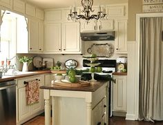 Upper cabinet doors could be fake to make cabinets appear taller