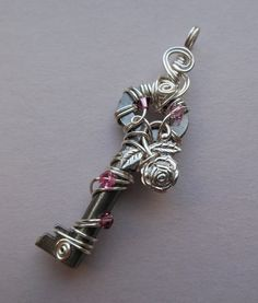 Silver Rose Wire Wrapped Key Pendant, Rose Pink Crystals and Silver Wire