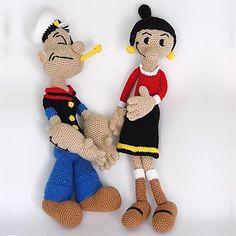 Patrón Popeye y Olivia Amigurumi