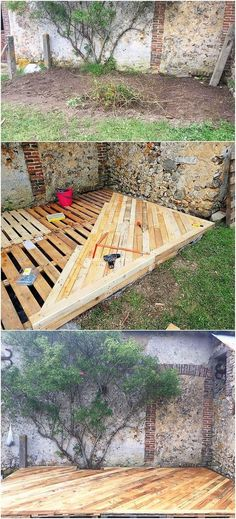 This idea of wood pallet garden terrace design can stand out a perfect option fo.:separator:This idea of wood pallet garden terrace design can stand out a perfect option fo. Pallets Garden, Wood Pallets, Deck From Pallets, Garden Ideas With Pallets, Recycled Pallets, Recycled Wood, Pallet Gardening, 1001 Pallets, Garden Decking Ideas