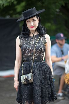 Dita Von Teese wore MALIKA mini lacedress from the new Maria Lucia Hohan collection to the ASOS Rocks VIP After Party during the 2013 Lollapalooza Music Festival on Saturday (August 3) in Chicago