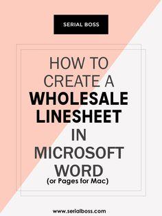 Line Sheet Example  MarketingBusiness    Business
