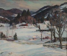 """""""Winter Landscape with Farm, Vermont,"""" Aldro Thompson Hibbard, oil on canvas, 25 x 30.12"""", private collection."""