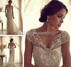 Bead Wedding Dress Anna Campbell Gossamer Collection Bridal A-Line Wedding Dresses | Buy Wholesale On Line Direct from China