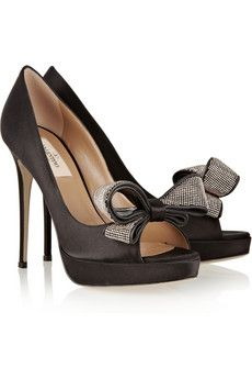 Valentino Jewelry Couture satin peep-toe pumps