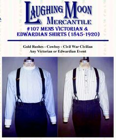 Patterns - Laughing Moon #107, Men's Victorian & Edwardian Shirts & Neckwear