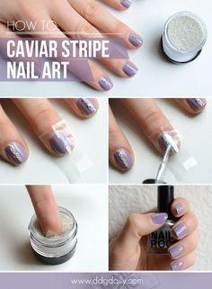DDG DIY: Caviar stripes nail art tutorial