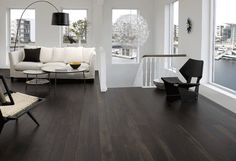 Extensive range of parquet flooring in Edinburgh, Glasgow, London. Parquet flooring delivery within the mainland UK and Worldwide. Black Hardwood Floors, Dark Timber Flooring, Dark Wood Floors Living Room, Dark Hardwood, Engineered Wood Floors, Living Room Flooring, Black Floorboards, Basement Flooring, Dark Laminate Wood Flooring