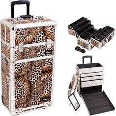 30.5 inch Leopard Print Silver Aluminum Finish Professional 2 in 1 Rolling Wheeled Makeup Train Case Cosmetics Organizer w/ 3 Drawers   6 Extendable Trays -- Special  product just for you. See it now! : Makeup bag