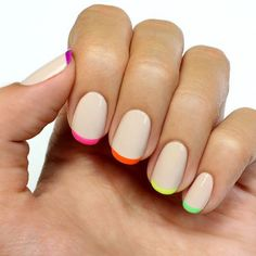 classic french manicure neon tips nail art (I would do white [or black] instead of nude for the base.)