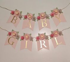 PERSONALIZED FLORAL BANNER with blush paper flower peonies, baby shower gift, nursery sign, custom name banner, Shabby Chic wedding - Baby shower themes - Baby Shower Floral, Deco Baby Shower, Baby Girl Shower Themes, Baby Shower Flowers, Girl Baby Shower Decorations, Shabby Chic Baby Shower, Gold Baby Showers, Bridal Shower, Baby Shower Banners