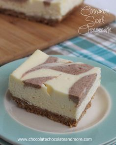 Cinnamon Swirl CheesecakeBars-A lighter cheesecake with the simple flavors of vanilla and cinnamon swirled together!