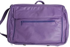 "Leather Dark Purple Briefcase / 17"" Laptop Bag"