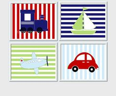 All Prints are my own Original Designs.    TRAINS PLANES CARS BOATS!    SET OF 4 PRINTS - Cute Prints for any little boy. These prints would make a
