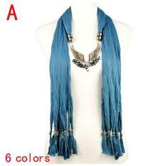 Stylish Wing Charms Jewelry Scarf Wholesale Blue Color  on www.jewelryscarfcanada.com