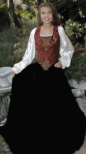 3PC Renaissance Brocade Bodice, Velvet Skirt, Chemise red-gold