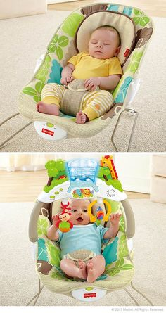 Keep baby busy with the Rainforest Friends Deluxe Bouncer. #BabyGear #Nursery