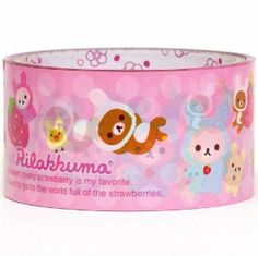"big pink Rilakkuma bear as rabbit Deco Tape San-X by San-X. $7.64. perfect for your collection, decorating, wrapping & to reward good students. length: 15m (16.4 yards), width: 4.8cm (1.9""). very good quality, super cute design. by San-X, import from Japan. big Deco Tape with brown & white bear and yellow chick as bunnies. kawaii decorative sticky tape with brown & white bear and yellow chick as bunnies"
