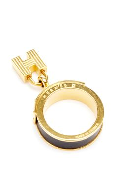 Hermes Black And Gold Kelly Lock Scarf Ring by What Goes Around Comes  Around for Preorder