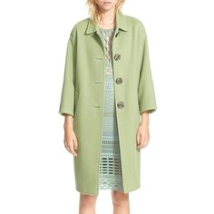 Burberry Prorsum Cotton & Silk Blend Coat (65 405 UAH) ❤ liked on Polyvore featuring outerwear, coats, celadon green, burberry, burberry coat, lightweight coat, cotton coat and green coat