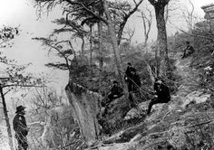 General Grant (left) and five officers on Lookout Mountain, near Chattanooga (1863