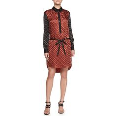 Jason Wu Belted Combo Shirtdress ($500) ❤ liked on Polyvore featuring dresses, rust, long sleeve shirt dress, silk floral dress, red long sleeve dress, long sleeve dresses and red dress