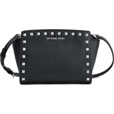 Michael Kors Selma Stud MD Messenger Bag ($274) ❤ liked on Polyvore featuring bags, messenger bags, studded messenger bag, black messenger bag, detachable key ring, courier bag and michael kors