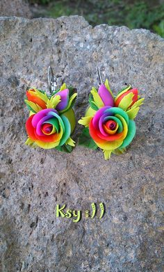 Roses Earrings.Rainbow Rose.Rainbow Earrings.Rainbow Flower.Roses Jewelry.Gift for Her.Colorful Earrings