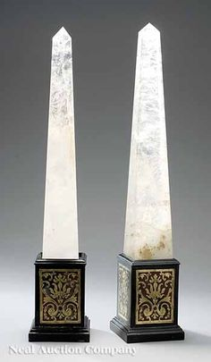 "A Pair of Rock Crystal Obelisks on Boullework Bases, of typical form, on raised plinth bases incorporating ""Boullework"" on each side, height 27 in., base 5 in. Interior Columns, Trophy Design, Grand Tour, Decoration, Elegant, Renaissance, Doors, Antiques, Inspiration"