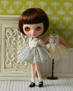 Anniedollz Blythe Outfits Vintage Long Sleeve Dress  by anniedollz, $29.90