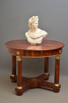 """Empire Mahogany Centre Table Ca1815 France. 28.5""""H x 38""""Diam."""
