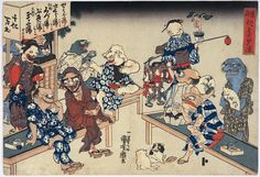 Bakemono yusuzumi / Cool party of monsters by Utagawa Kuniyoshi