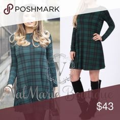 """Gorgeous Hunter Green Tartan Swing Dress This gorgeous Plaid Tartan Plaid swing dress is stretchy and comfy and perfect for the upcoming holidays. Have sizes S/M (2-6) M/L (8-12)  looks awesome on and flowy!!! Pair with black leggings or even a sexy faux leather legging to complete the look. 95% poly, 5% spandex. Length: S/M 34"""" M/L 34.5"""" ValMarie Dresses"""