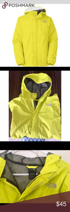 North Face Rain Jacket ✨ North Face•Bright Yellow/Green•Basically Brand New•Size BOYS XL•Fits like an adult S/M• pockets and hood•. This is absolutely perfect for rainy days or just casual wear--only selling because I bought a new rain jacket-- this is easy to roll up and throw in a backpack when hiking,running,etc.! North Face Jackets & Coats Raincoats