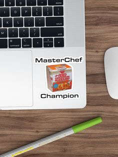 'MasterChef Cook Champion Cup Noodle Meal' Sticker by damanarora Sticker Design, Glossier Stickers, Champion, Graphic Tees, Iphone Cases, Cooking, Prints, Kitchen, Kochen