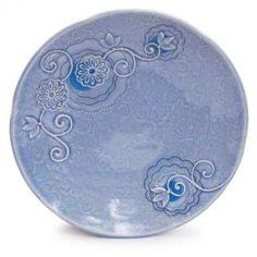 Kristen Kieffer, Large Plate (Periwinkle), porcelain, layered texturing, underglazes and slip application