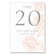 Shop Coral Gray Floral Vintage Wedding Table Number created by WeddingCentre. Card Table Wedding, Wedding Table Numbers, Wedding Cards, Art Deco Wedding Invitations, Wedding Invitation Sets, Vintage Bridal Bouquet, Table Cards, Gray, Floral