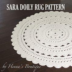 Crochet Doily Rug Pattern SARA 37 inch rug PDF by hennasboutique Crochet Doily Rug, Crochet Rug Patterns, Crochet Carpet, Crochet Home, Bead Crochet, Crochet Baby, Tapete Doily, Animal Rug, Knit Rug