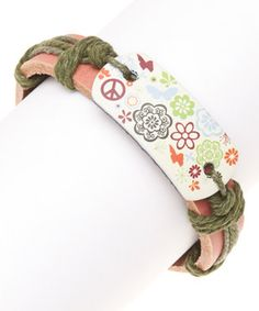 Look what I found on #zulily! Green & Brown Leather Floral Bracelet by Meri Jewelry #zulilyfinds