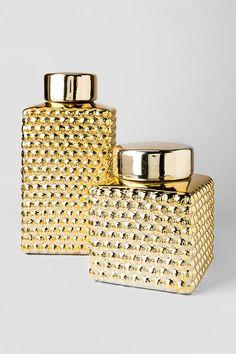 Gold Lidded Jars Set of 2