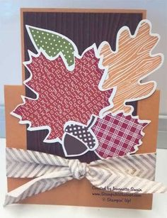 Fun fall colors, Stampin Up stamp set Wonderfall and coordinating die.