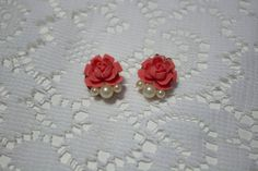 **SOLD** Vintage Rose and Pearl Clip On Earrings by JenuineCollection on Etsy