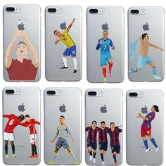 Football Case Pogba karim Benzema Cristiano Ronaldo Messi phone case for iphone 7  6plus 6 6s 5s se TPU clear back cover coque