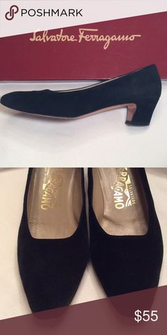 BLACK Suede Vintage 90s Ferragamo Pumps Block Heel Vintage 90s black suede heels from  the original Neiman Marcus in Dallas, Texas.  Always worn with additional protective insoles so the insoles are in great shape. Please notice the closeup photos that spotlight wear/flaws, particularly around the toe area. A few other pairs of vintage Ferragamo's available.  Please feel free to ask questions or make an offer. Salvatore Ferragamo Shoes Heels
